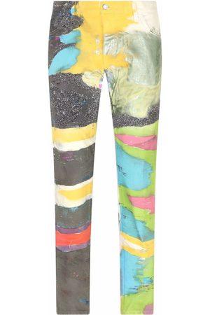 Dolce & Gabbana Men Straight - Painted-print straight leg jeans - Multicolour