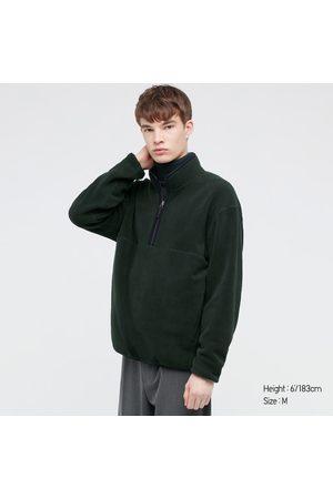UNIQLO Men's Fleece Long-Sleeve Half-Zip Pullover, Green, XXS