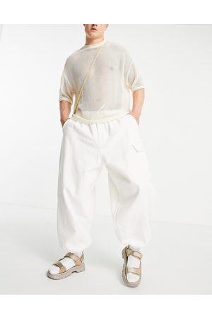 ASOS DESIGN Men Cargo Pants - Pants with elasticized waist and cargo pocket in white-Grey