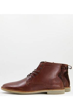 ASOS DESIGN Wide Fit desert boots in tan leather with suede detail
