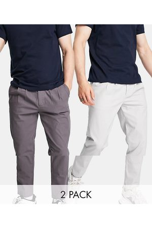 ASOS DESIGN 2 pack cigarette chinos with pleats in charcoal and light gray save-Multi