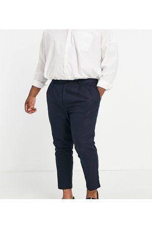 Gianni Feraud Plus navy linen pleated pants