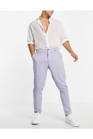 ASOS DESIGN Linen mix tapered pants in pastel blue-Blues