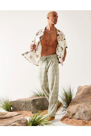ASOS DESIGN Linen mix wide leg pants in plaid