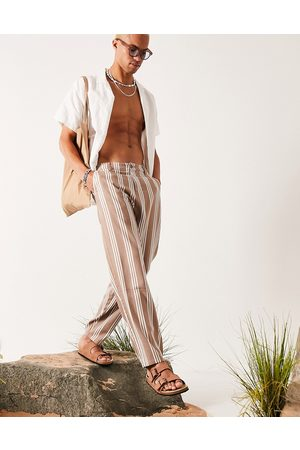 ASOS DESIGN Linen mix oversized tapered pants in stripe-Neutral