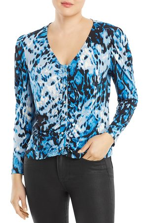 SINGLE THREAD Printed Ruched Sleeve Top