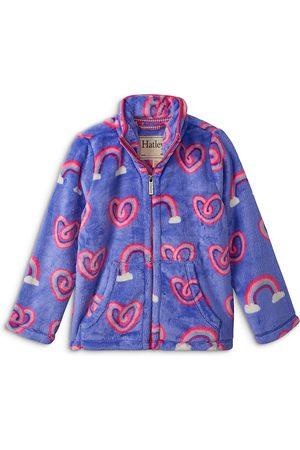 Hatley Girls' Rainbow Hearts Front Zip Fleece - Little Kid, Big Kid