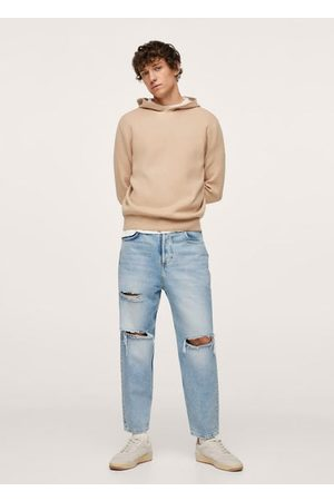 MANGO Ripped straight-fit jeans
