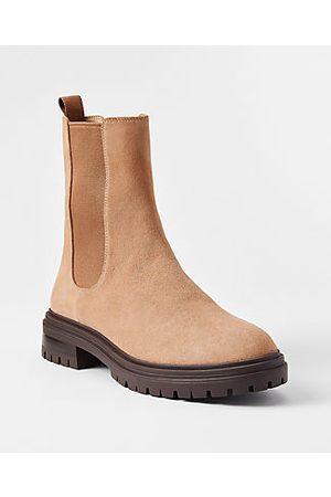 ANN TAYLOR Women Chelsea Boots - Suede Lug Sole Chelsea Booties