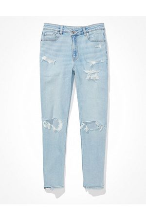 American Eagle Outfitters Stretch Ripped Crossover Highest Waist Mom Jean Women's 14 Regular