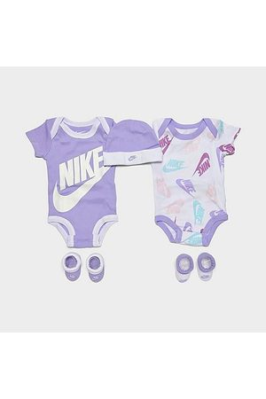 Nike Infant Futura Allover Print 5-Piece Bodysuit, Beanie Hat and Socks Set Size 0-6 Month Knit