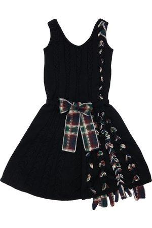INFANTIUM VICTORIA Organic Knit Dress W/ Bow & Fringes