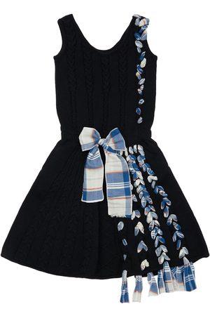 INFANTIUM VICTORIA Girls Knitted Dresses - Organic Knit Dress W/ Bow & Fringes