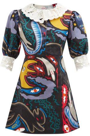 Charles Jeffrey Loverboy Abstract-print Denim Mini Dress - Womens - Multi