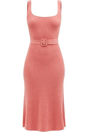 JoosTricot Women Knitted Dresses - Belted Ribbed-knit Organic Cotton-blend Midi Dress - Womens