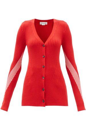 Victoria Beckham Women Cardigans - Two-tone V-neck Ribbed Wool Cardigan - Womens - Dark