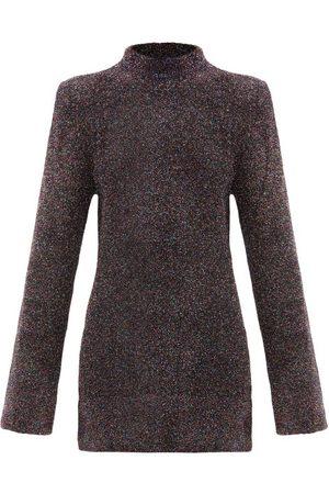 The Attico Padded-shoulder Lamé Mini Dress - Womens - Multi