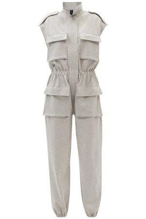 Norma Kamali Women Jumpsuits - Flap-pocket Cotton-blend Sleeveless Jumpsuit - Womens - Grey