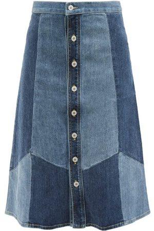 NILI LOTAN Madeline Patchwork-denim Midi Skirt - Womens - Denim Multi