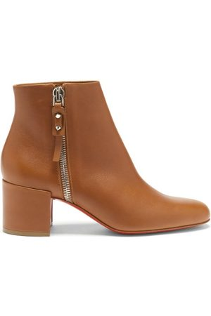 Christian Louboutin Women Ankle Boots - Ziptotal 55 Leather Ankle Boots - Womens - Tan