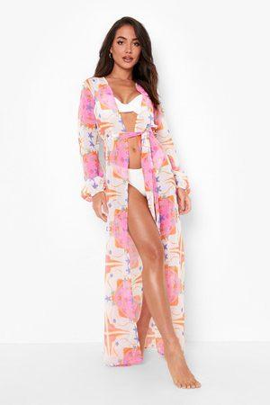 Boohoo Womens Nautical Chiffon Maxi Kimono - - S