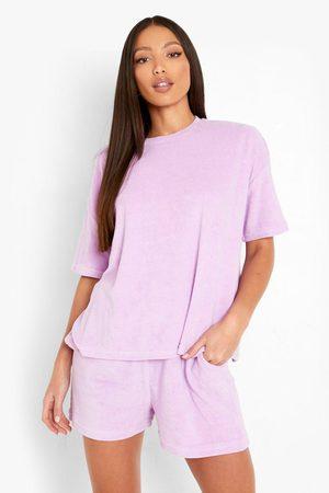 Boohoo Womens Tall Terry Towelling T-Shirt & Short Set - - 2
