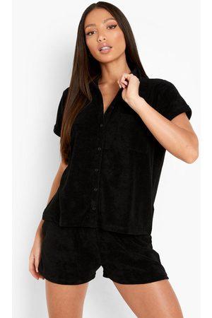 Boohoo Womens Tall Terry Towelling Shirt & Short Set - - 2