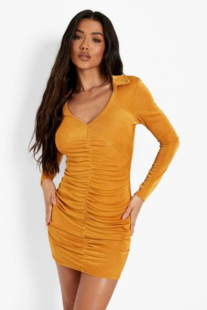 Boohoo Women Party Dresses - Womens Slinky Rouched Front Long Sleeve Mini Dress - - 4