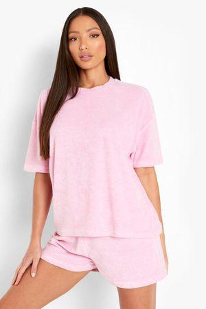 Boohoo Womens Tall Terry Towelling T-Shirt & Short Set - - 4