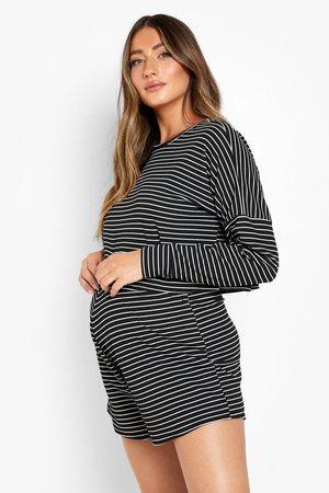 Boohoo Womens Maternity Oversized Stripe Rib Co-Ord Set - - 4