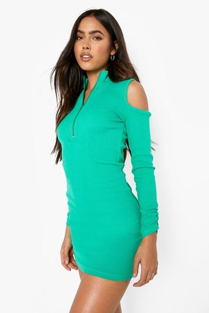 Boohoo Womens Premium Rib High Zip Neck Cold Shoulder Mini Dress - - 4