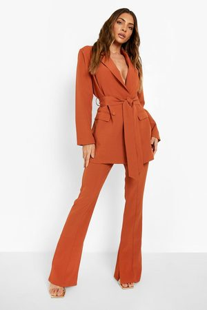 Boohoo Womens Split Side Pin Tuck Front Tailored Pants - - 4