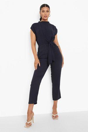 Boohoo Womens High Neck Belted Midi Dress - - S