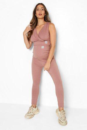 Boohoo Womens Maternity Rib Wrap Crop And Legging Set - - 4