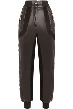 Dolce & Gabbana Women Sweatpants - Quilted leather track trousers