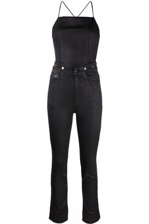 Diesel Women Jeans - Open-back strappy denim jumpsuit