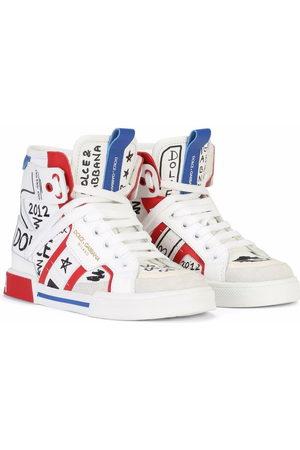 Dolce & Gabbana Boys Sneakers - Graffiti-print high-top sneakers