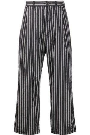 CASEY CASEY Men Wide Leg Pants - Crinkled stripe-pattern wide-leg trousers