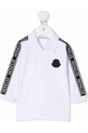 Moncler Polo Shirts - Logo-tape long-sleeved polo shirt