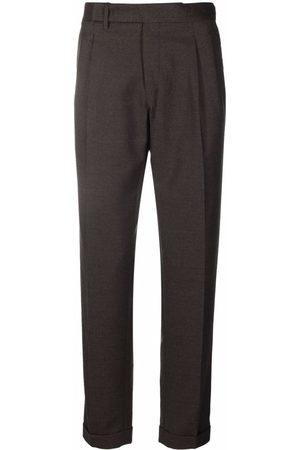 BRIGLIA Men Formal Pants - Cropped wool tailored trousers