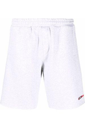 Msgm Men Sports Shorts - Logo-print drawstring track shorts - Grey