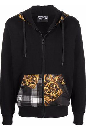 VERSACE Men Hoodies - Zip front patchwork hoodie