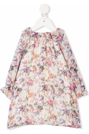 BONPOINT Baby Printed Dresses - Floral-print silk-blend midi dress - Neutrals