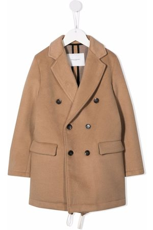 Paolo Pecora Boys Blazers - Notched-lapels midi double-breasted coat - Neutrals