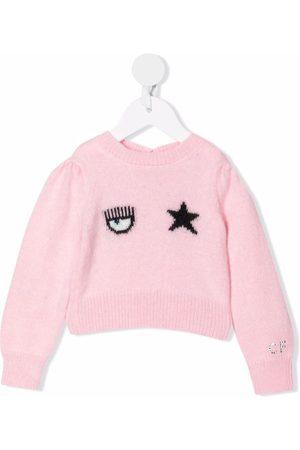 Chiara Ferragni Sweaters - Intarsia-knit puff-sleeves jumper