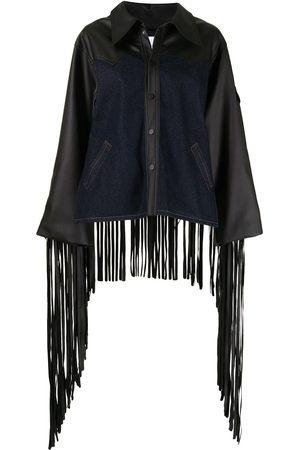 Natasha Zinko Women Denim Jackets - Mix-fabric fringe jacket