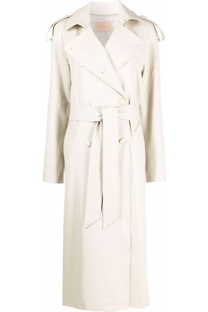 The Andamane Faux leather lizardskin-effect trench coat
