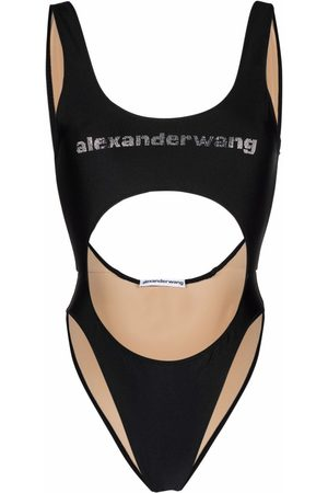 Alexander Wang Women Monokinis - Logo-print cut-out swimsuit