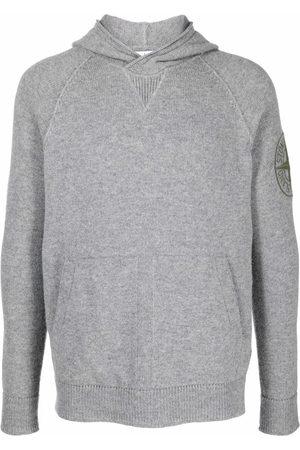 Stone Island Embroidered logo hoodie - Grey