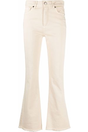 FEDERICA TOSI Women Flares - Mid-rise flared jeans - Neutrals